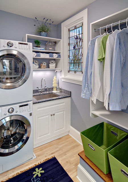 Stacked Washer and Dryer Laundry Room Traditional with Clean Clothing Rack Crisp Dryer Drying Rack Gray Wall
