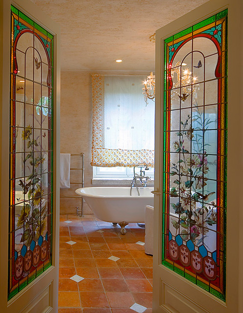 Stained Glass Chandelier Bathroom Victorian with Beige Wall Chandelier Clawfoot Tub Faux Finish Floor Tile