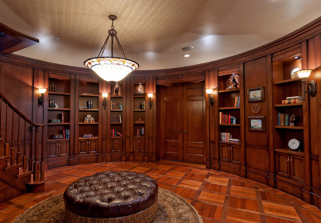 Stained Glass Chandelier Home Office Traditional with Basketweave Pattern Floor Brown Leather Ottoman Dark Wood Bookshelves
