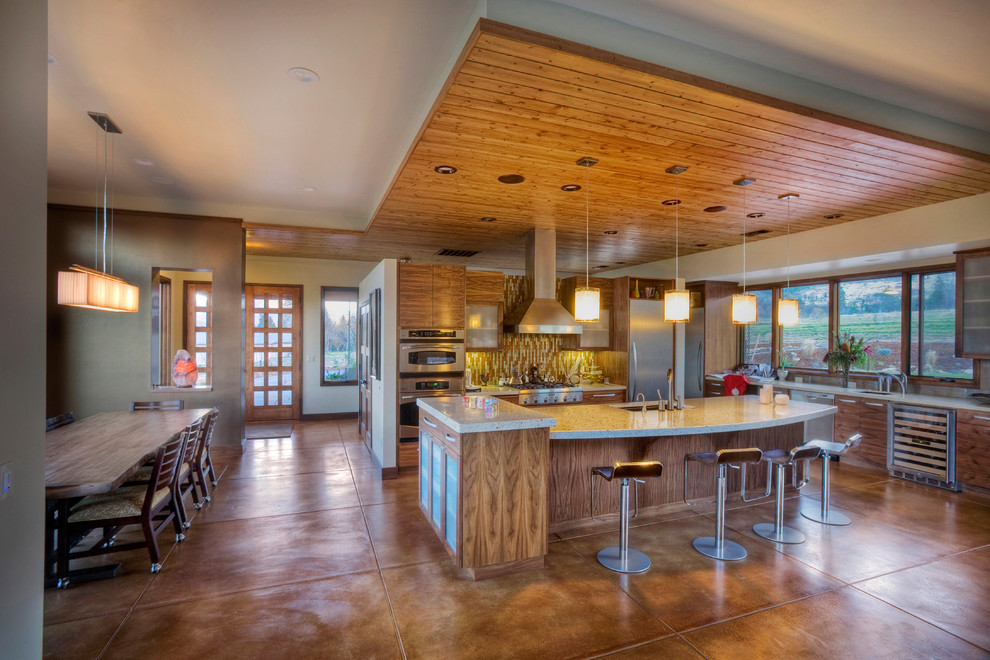 Staining Concrete Floors Kitchen Contemporary with Accent Ceiling Acid Stained Concrete Breakfast Bar