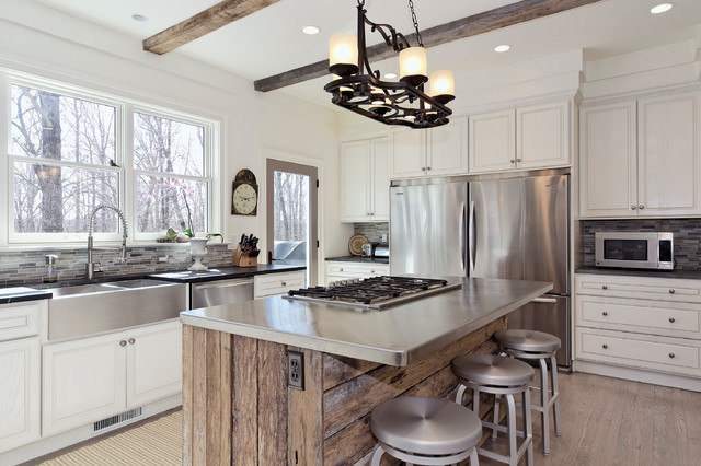 Stainless Steel Appliance Cleaner Kitchen Transitional with Black Counter Cooktop Glass Door Gray Tile Backsplash Kitchen