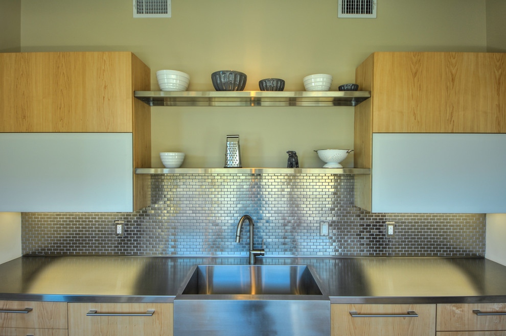 Stainless Steel Backsplash Tiles Kitchen Contemporary with Beige Wall Bkc Kitchen and Bath Butlers