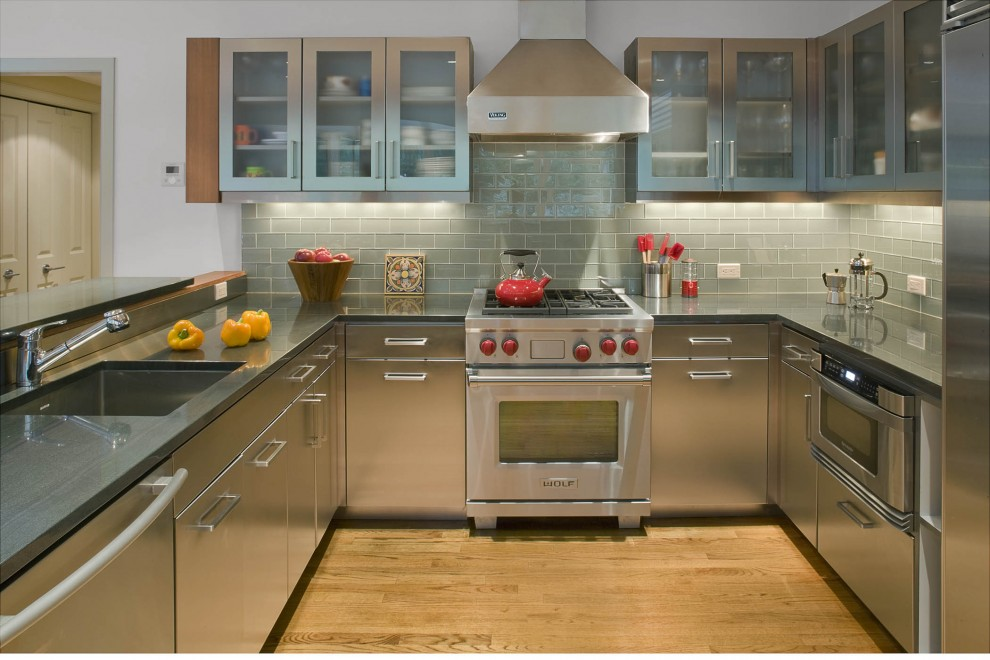 Stainless Steel Backsplash Tiles Kitchen Contemporary with Frosted Glass Gray Hardwood Floors Hood Light