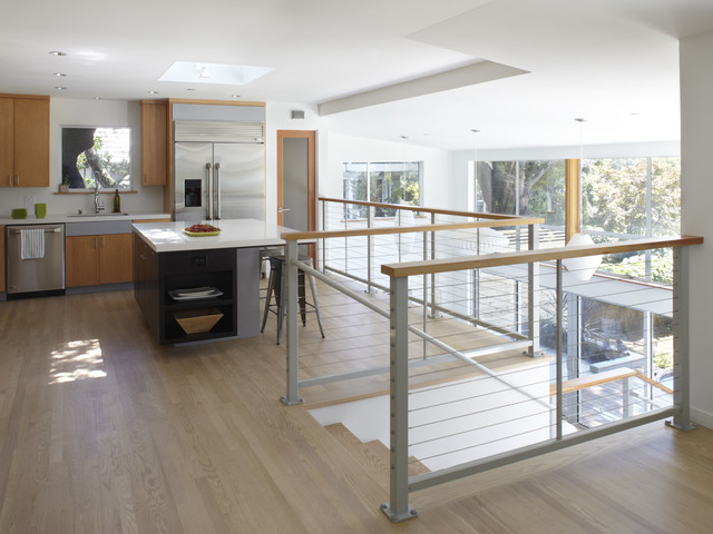Stainless Steel Cable Railing Kitchen Contemporary with Cable Railing Ceiling Light Farmhouse Sink High Ceiling Kitchen