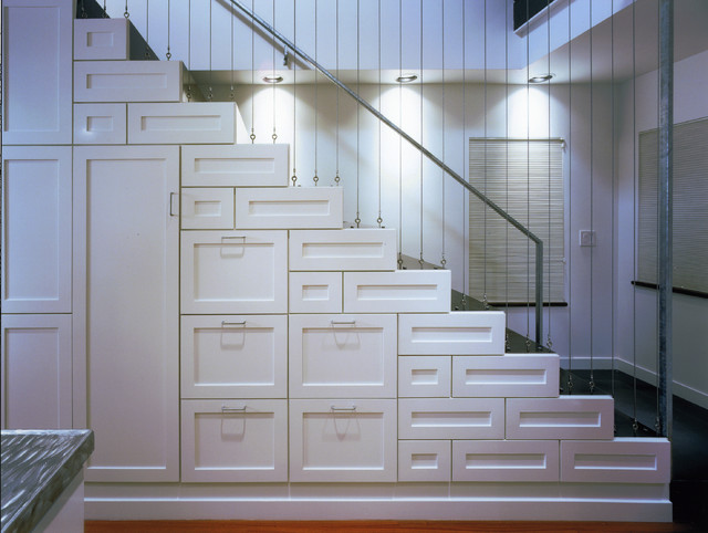 stainless steel cable railing Staircase Contemporary with accordian blinds cable railing cool stair Deep drawers deep