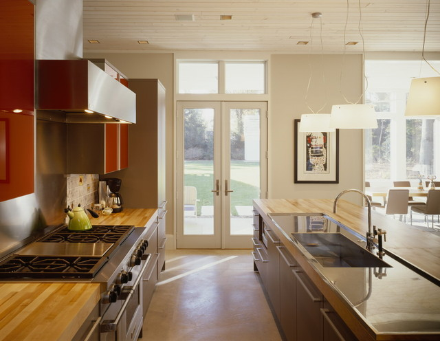 Stainless Steel Griddle Kitchen Contemporary with Butcher Block Countertops Ceiling Lighting French Doors Island Lighting