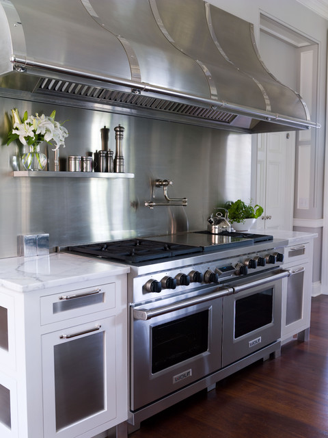 Stainless Steel Griddle Kitchen Traditional with Dark Stained Wood Floor Frame and Panel Hood Marble
