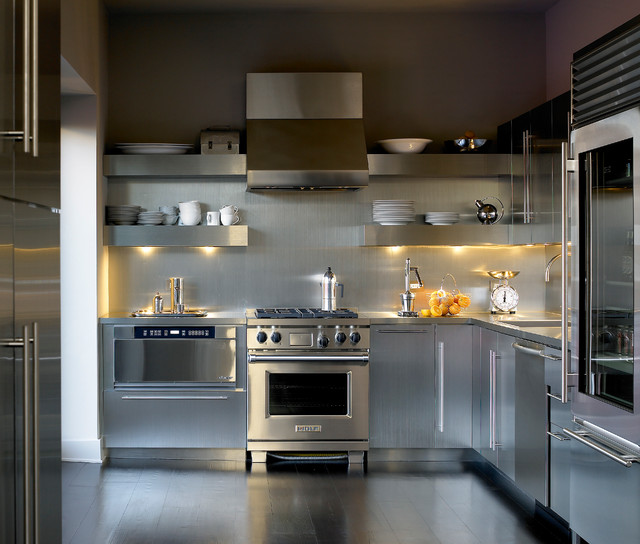 Stainless Steel Handrail Kitchen Contemporary with Brown Wall Contemporary Dark Wood Floor Dishes Floating Shelf