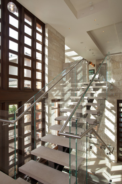 Stainless Steel Handrail Staircase Contemporary with Beach Home Glass Glass Guardrail Modern Natural Lighting Recessed