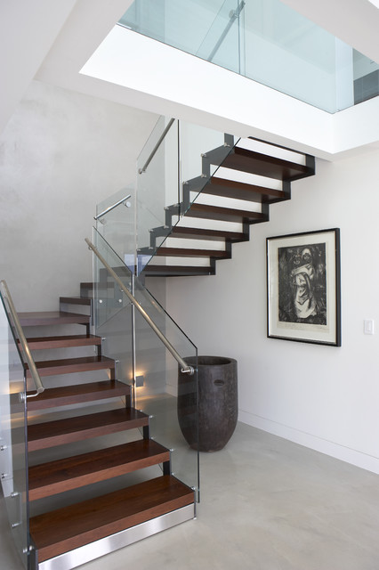 stainless steel handrail Staircase Modern with concrete floor dark stained wood drawing framed print glass