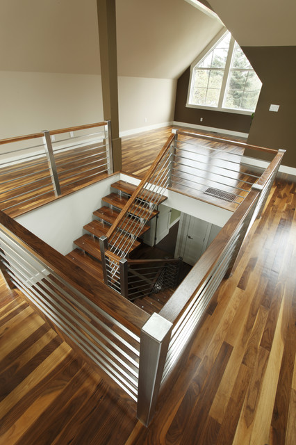 Stainless Steel Railing Staircase Contemporary with Brown Accent Wall Stainless Steel Staircase Railing Stairwell Vaulted1