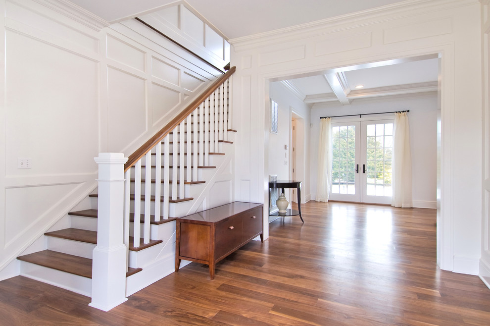 Stair Banister Staircase Traditional With Curtain Curtain Rod Doorway Entry  French Doors