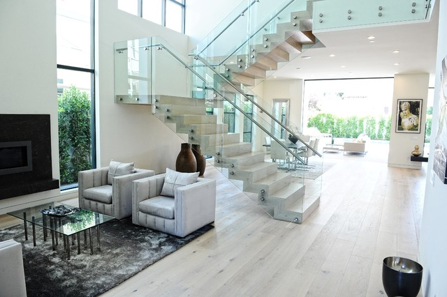 Stair Carpet Runner Living Room Contemporary with Double Height Glass Panel Railing Gray Area Rug Gray