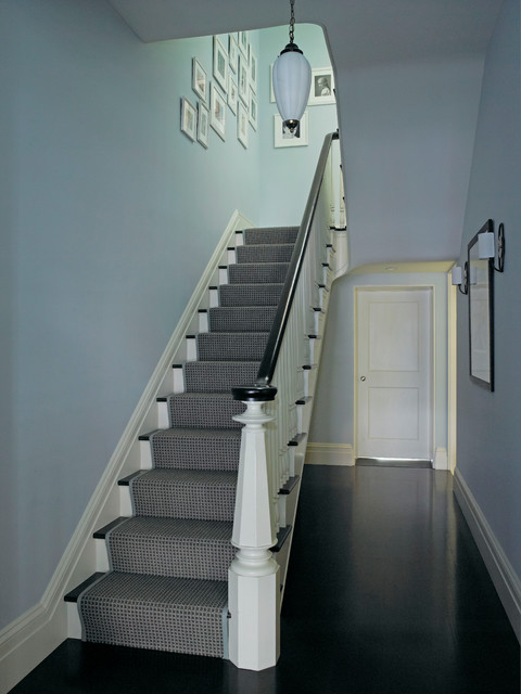 Stair Carpet Runner Staircase Eclectic with Art Banister Blue Dark Wood Floors Eclectic Gallery Wall