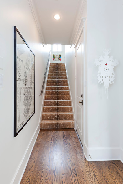 Stair Carpet Runner Staircase Transitional with Artwork Baseboard Bright Clean Crown Molding Cuckoo Clock Light