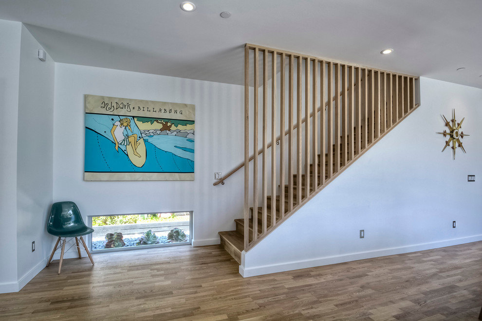 Stair Railing Ideas Staircase Midcentury with Chair Handrail Low Window Recessed Lighting Wall