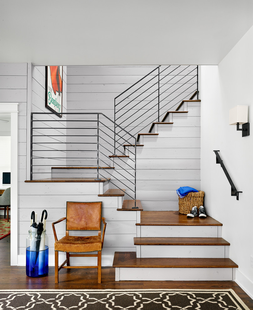 Stair Railings Staircase Farmhouse with Black Railing Framed Artwork Metal Railing Patterned