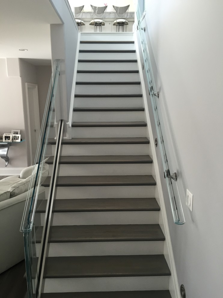 Stair Railings Staircase Modern with Glass Railing Modern Staircase Stained Steps White