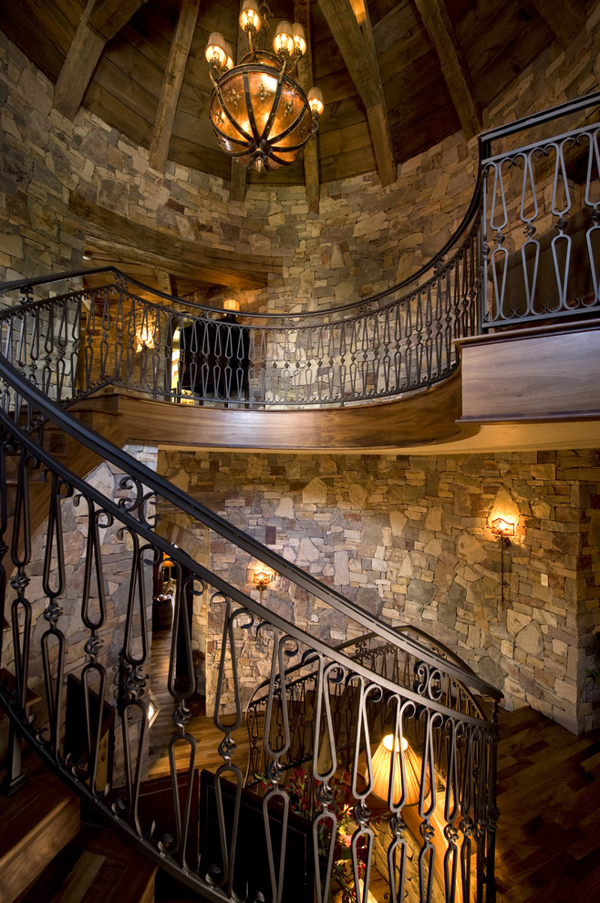 Stair Railings Staircase Rustic with Chandelier Curved Staircase Dark Floor Decorative Ironwork
