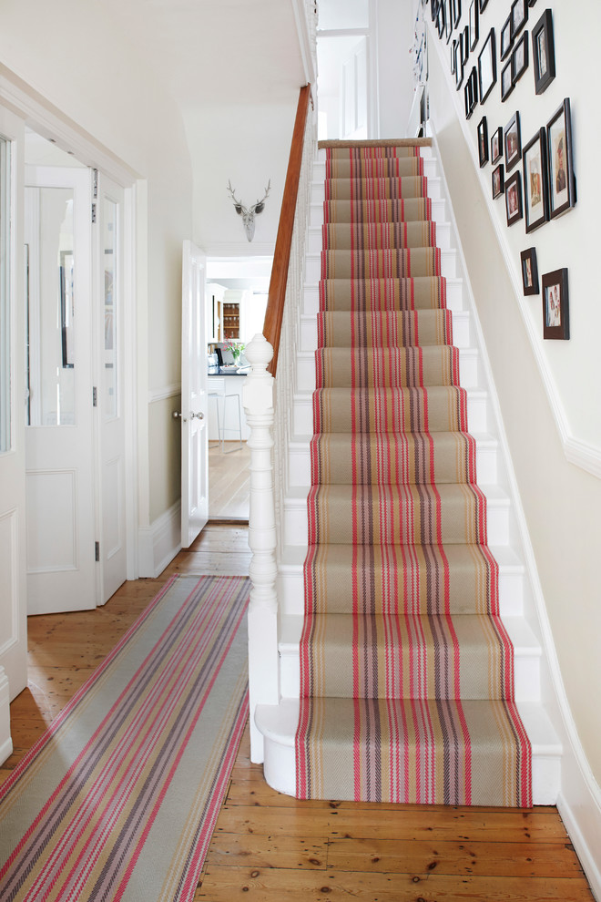 Stair Runner Staircase Contemporary with Black White Photos Entrance Hall Hall Hallway1