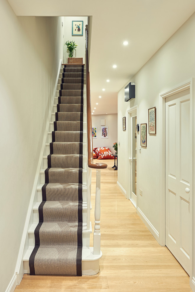 Stair Runner Staircase Traditional with Banister Hallway Lighting Hallway Products Narrow Staircase1