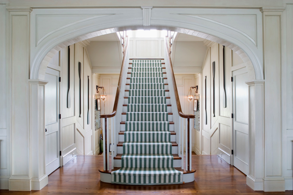 Stair Runner Staircase Traditional with Boat Oar Grand Staircase Green and White1