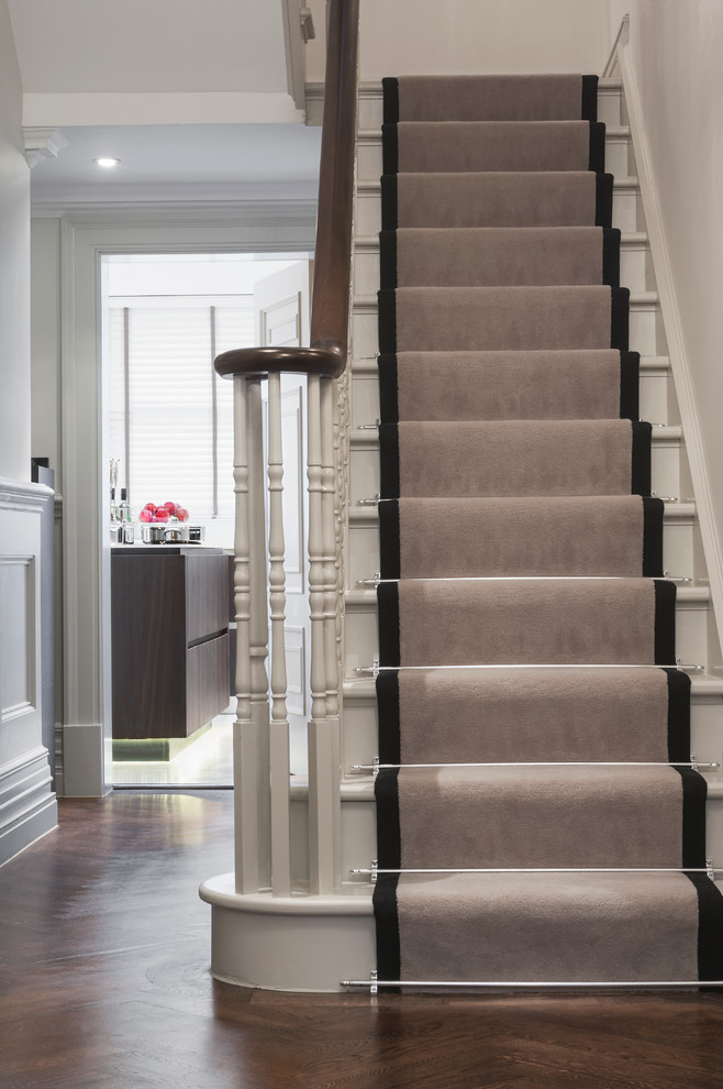 Stair Runner Staircase Traditional with Handrail Runner Staircase Wainscoting White Stairs Wood1