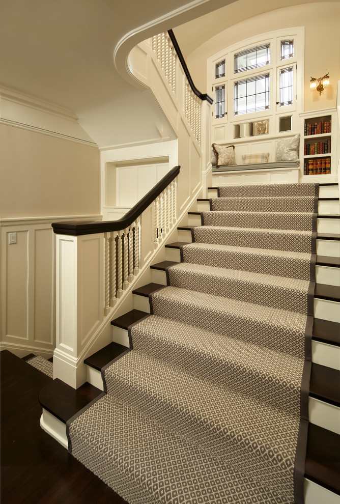 Stair Runner Carpet Staircase Traditional With Bookcase Brown And White  Runner Built In