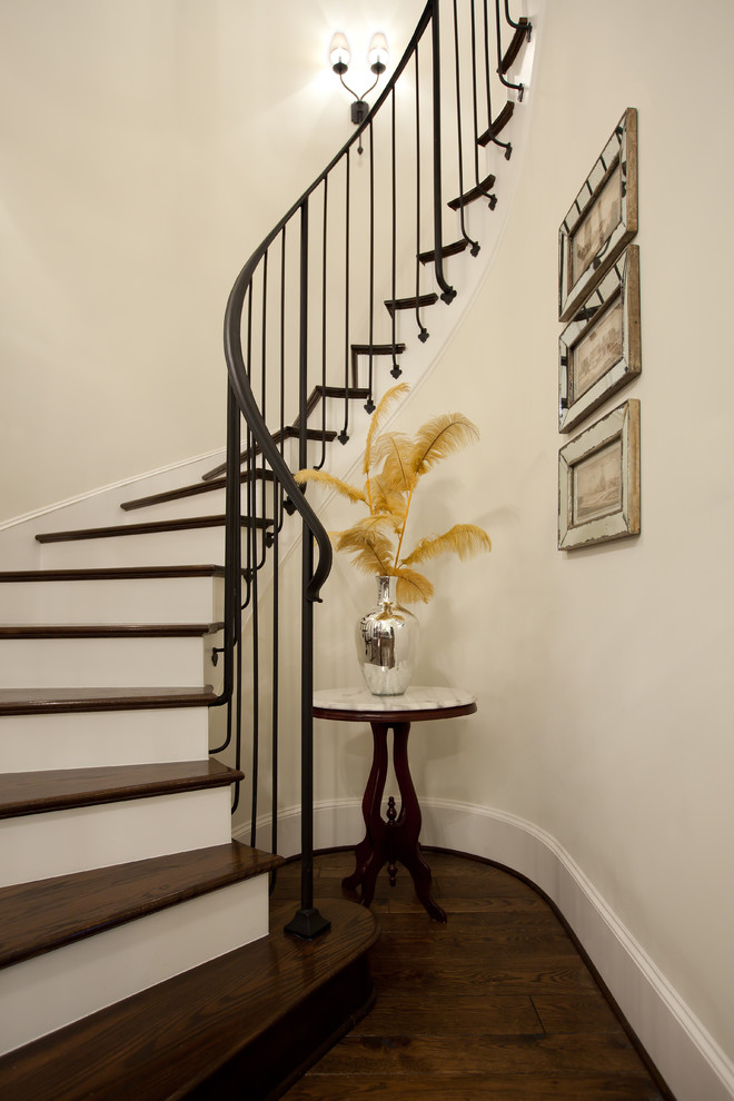 Stair Spindles Staircase Traditional with Antique Mirror Beige Wall Curved Staircase Curved
