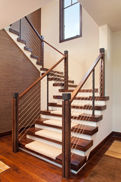 stair tread carpet Staircase Contemporary with cable rail carpet treads closed risers open stringer open