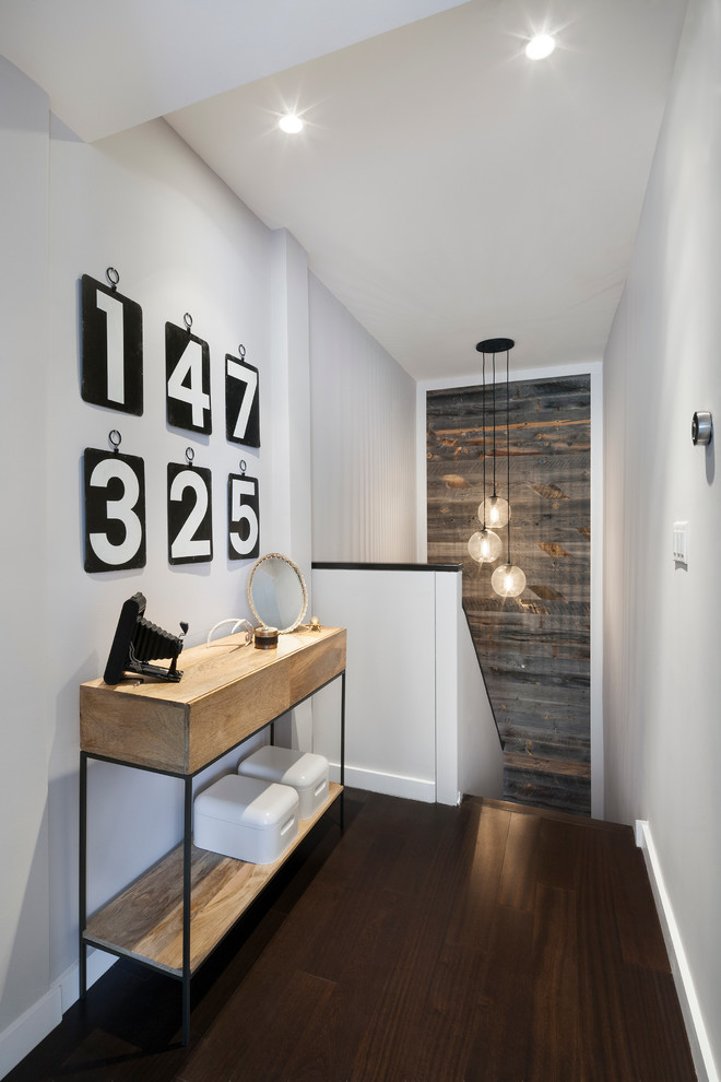 Stairwell Lighting Hall Contemporary with Console Table Dark Wood Floor Dark Wood