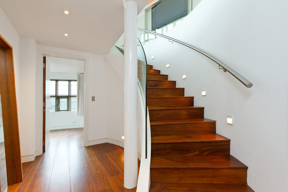 Stairwell Lighting Staircase Contemporary with Ceiling Lighting Column Curved Staircase Glass Guardrail