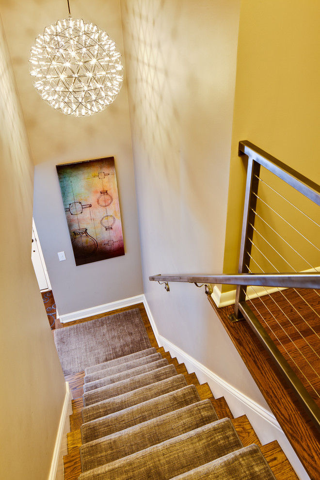 stairwell lighting staircase modern with beige wall cable staircase