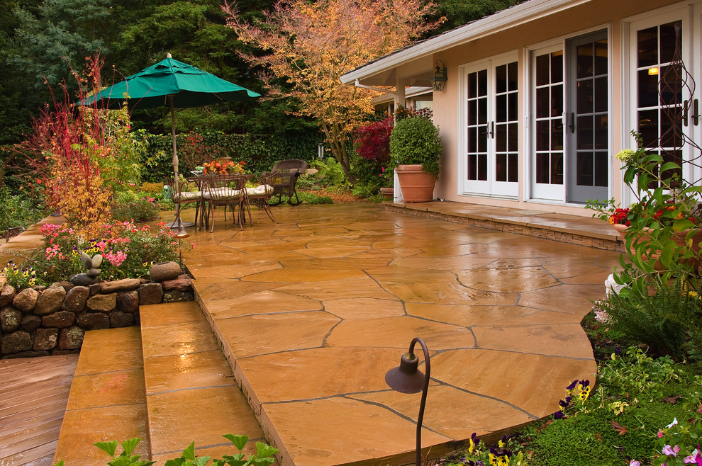 Stamped Concrete Patio Landscape Traditional with Container Plants French Doors Outdoor Dining Patio