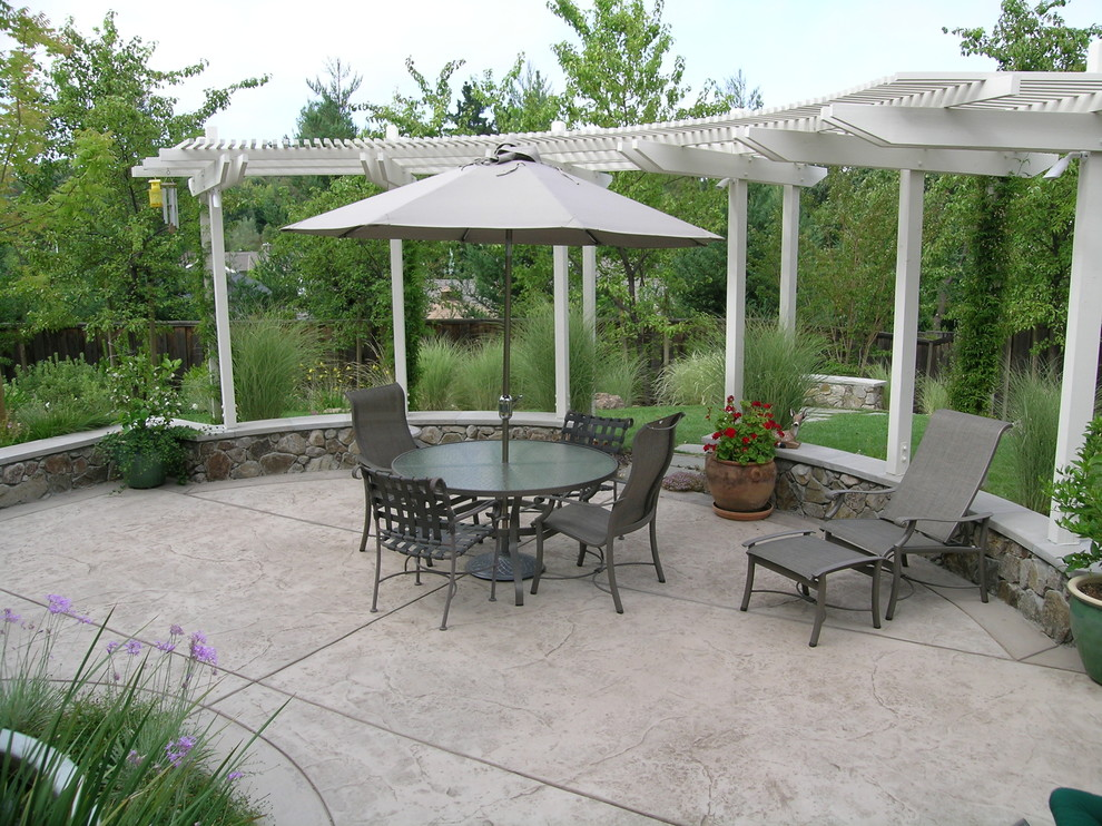Stamped Concrete Patio Patio Traditional with Arbor Chaise Lounge Concrete Concrete Paving Container