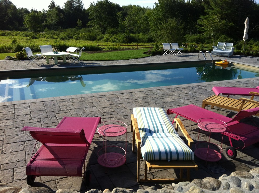 Stamped Concrete Patio Pool Traditional with Chaise Lounge Field Grass Lap Pool Lawn