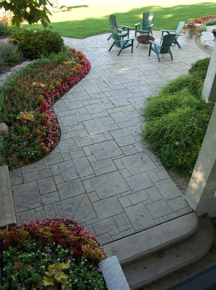 Stamped Concrete Patterns Landscape Traditional with Fondulac Waterfalls and Ponds Limestone Entry Walls