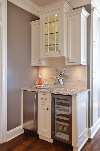 Stand Alone Ice Maker Kitchen Traditional with Bar Bar Accessories Baseboards Crown Molding Dark Floor Glass