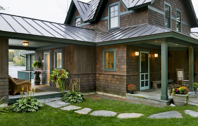 Standing Seam Roof Exterior Rustic with Cabin Container Plants Covered Patio Entrance Entry Gabled Roof