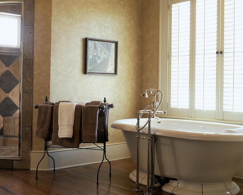 Standing Towel Rack Bathroom Traditional with Alcove Baseboards Earth Tones Nook Paint Treatment