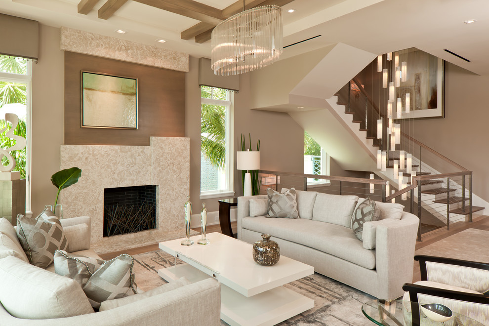 Stanley Furniture Coastal Living Room Contemporary With Art Glass Lighting Blown Light Chandelier