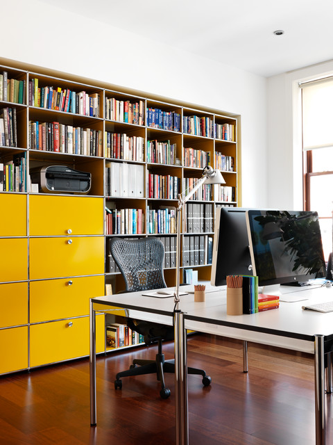 staples filing cabinet Home Office Contemporary with bright yellow built in bookshelves facing desks NY loft