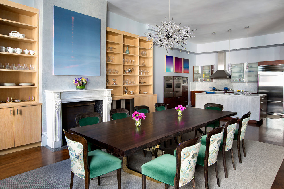 Starburst Chandelier Dining Room Contemporary With Blue Painting Above Fireplace Built In Wall