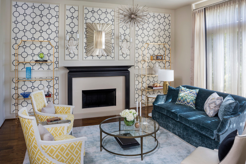 Starburst Chandelier Living Room Midcentury with Accent Furniture Black Laqcuer Blue Sofa Gold