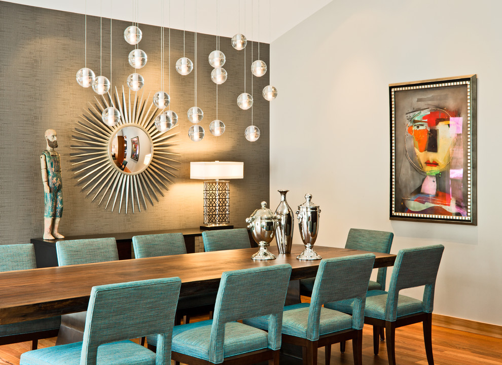 Starburst Mirror Dining Room Contemporary with Accent Wall Art Art Work Blue Buffet