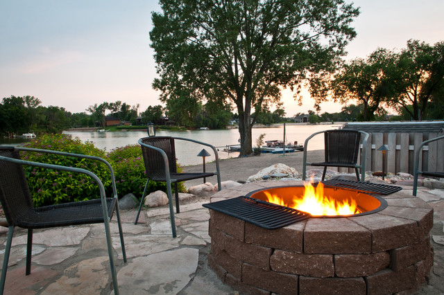 steel fire pit ring Landscape Contemporary with beach dock fence firepit flagstone grill mature trees outdoor