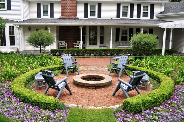 Steel Fire Pit Ring Patio Traditional with Benches Boxwood Boxwood Hedges Brick Fire Pit Brick Paths