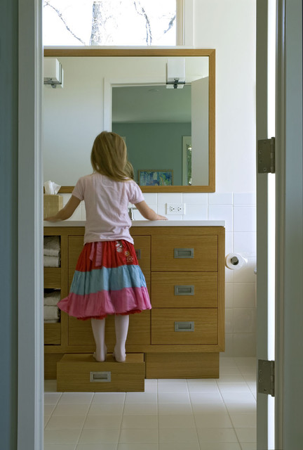 Stepping Stool Bathroom Contemporary with Child Size Corian Oak Step Stool