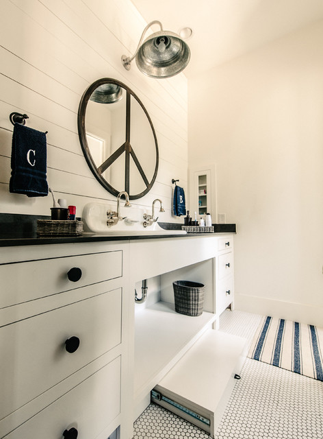 Stepping Stool Bathroom Transitional with Black and White Bathroom Black Countertop Boys Bathroom Hex