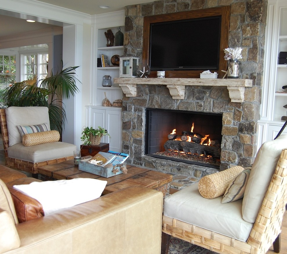 Stone Fireplace Mantels Living Room Beach with Armchairs Built in Shelves Built in Tv Coffee Table